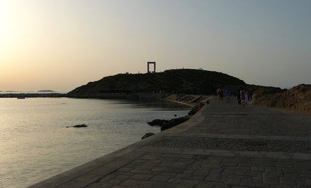 The main city of Naxos island with its temples at sunset, Greece