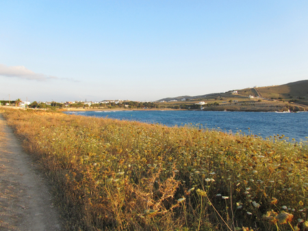 View of Antiparos island at sunset, Cyclades, Greece
