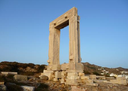 Portara, Apollo Temples entrance, Naxos island, Greece Stock Photo