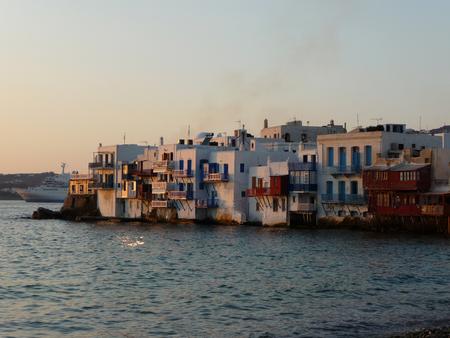 Mykonos town (Chora) at sunset, Greece