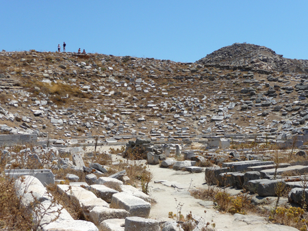 View of Delos island: the most big archaeological site of Cyclades archipelago. Greece.