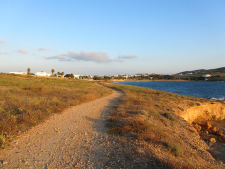 A path to Antiparos village at sunset, Cyclades islands, Greece