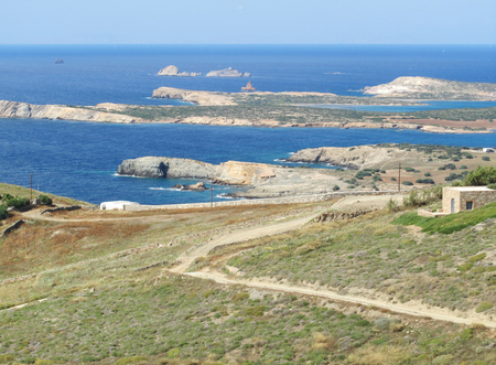 A view of Antiparos in summer, a little island near Paros, Cyclades, Greece. Stock Photo