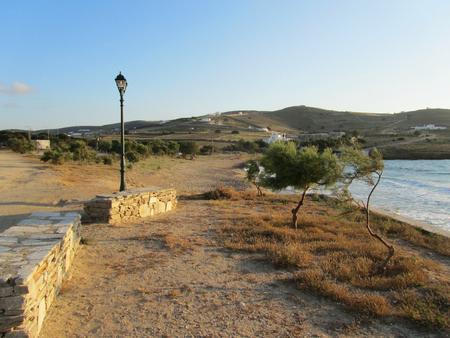 The coast of Antiparos island at sunset, Cyclades, Greece Stock Photo