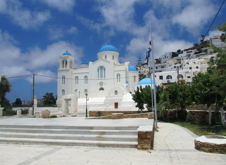 The dome of Hora of Chora town, Ios Village, Cyclades island, Greece with spectacular sky
