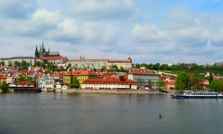 Castle of Prague in Czech Republic seen by the Vltava river. Tilt-shift effect applied.