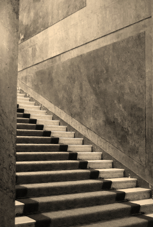 Luxury and ancient monumental staircase. Sepia effect applied. Stock Photo - 94130367