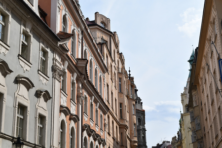 Ancient buildings, an example of Bohemian architecture in Prague in Czech Republic Stock Photo - 93864970