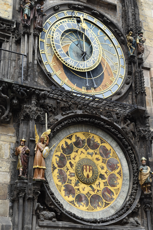 Prague astronomical clock in the Old Town Square, in Prague in Czech Republic. Stock Photo - 93848881