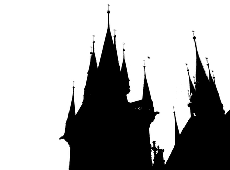 Silhouette of a ghostly and scary castle Stock Photo - 93848886