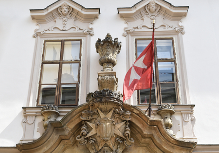 The building of the Order of Knights of the Hospital of Saint John of Jerusalem in the Old Town of Prague in Czech Republic.