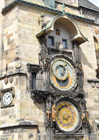 Prague astronomical clock in the Old Town Square, in Prague in Czech Republic.