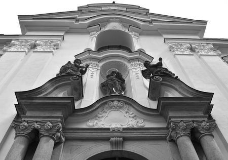 Basilica of the Assumption in the Strahov Monastery in Prague, in Czech Republic. Black and white. Stock Photo