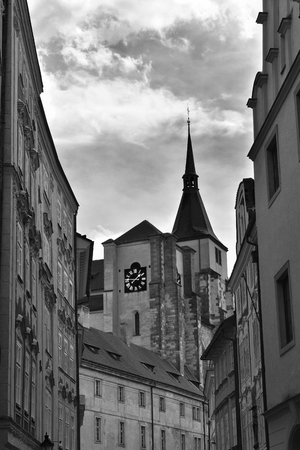 The Old Town of Prague in Czech Republic. Black and white. Stock Photo - 93848890