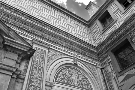 The ancient Schwarzenberg or Lobkowicz Palace in Prague, in Czech Republic. Black and white.