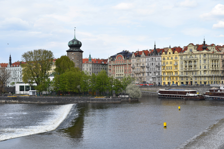 View of the city center of Prague in Czech Republic, seen by the bank of the river Vltava Stock Photo - 94130312
