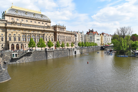 The National Theatre of Prague city center on the bank of Vltava river, in Czech Republic. Stock Photo - 104403874