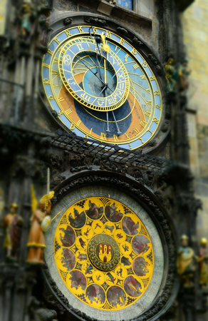 Prague astronomical clock in the Old Town Square, in Prague in Czech Republic. Tilt-shift effect applied. Stock Photo - 93848896