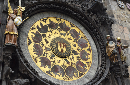 Prague astronomical clock in the Old Town Square, in Prague in Czech Republic. Stock Photo - 93848902