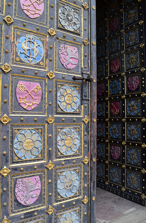 The door grey, blue and pink of Vy�ehrad cathedral in Prague in Czech Republic. Stock Photo - 94091877