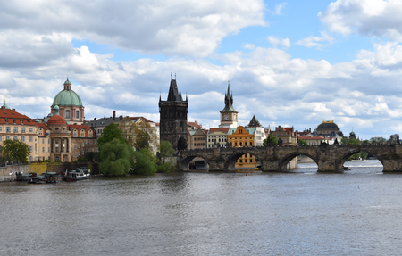 A view of Charles Bridge and the city center in Prague in Czech Republic. Stock Photo - 93848904