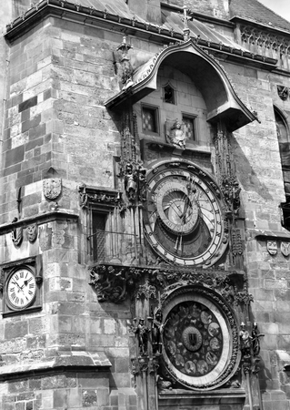 Prague astronomical clock in the Old Town Square, in Prague in Czech Republic. Black and white. Stock Photo - 94446401