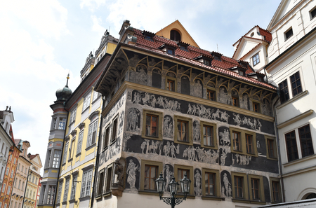 An ancient painted house in Old Town Square in Prague, Czech Republic Stock Photo - 93848905