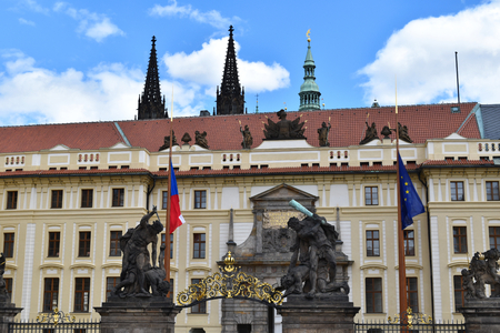 The palace at the main entrance of the Castle of Prague in Czech Republic. Stock Photo - 93848913