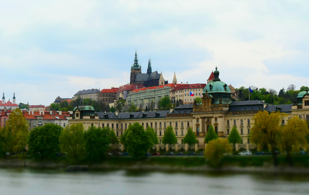 Castle of Prague in Czech Republic seen by the Vltava river. Tilt-shift effect applied. Stock Photo - 93848914