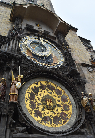 Prague astronomical clock in the Old Town Square, in Prague in Czech Republic. Stock Photo - 94446403