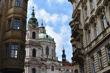 The Church of Saint Nicholas: a Late-Gothic and Baroque cathedral in the Old Town of Prague in Czech Republic. Stock Photo - 94116227