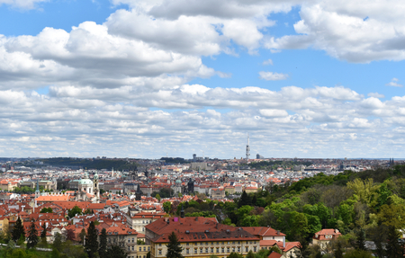 The view of the city of Prague in Czech Republic in a sunny day.