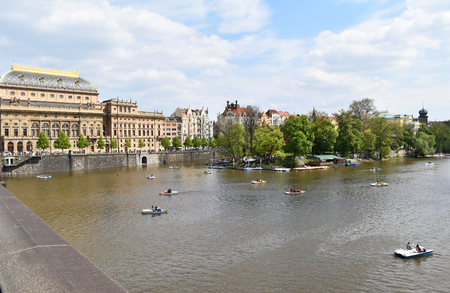 The National Theatre of Prague city center on the bank of Vltava river, in Czech Republic. Stock Photo