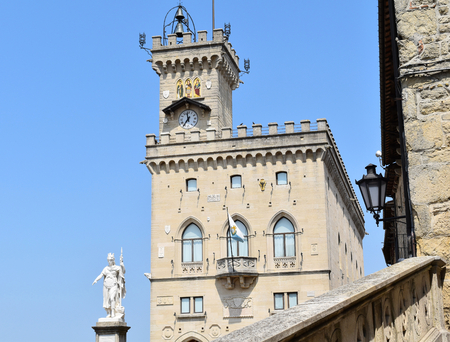 Public Palace and the Statue of Liberty of Saint Marino, City of San Marino, Republic of San Marino. San Marino is the oldest surviving sovereign state and constitutional republic in the world: it was founded on 3 September 301 by Marinus of Arba.