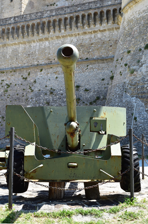 SAN LEO, ITALY, JULY 2016: cannons of Second World War in front of the San Leo Fortress, Italy. During the war, anti-tank guns were used to destroy enemy armored vehicles generally from defensive positions. Editorial