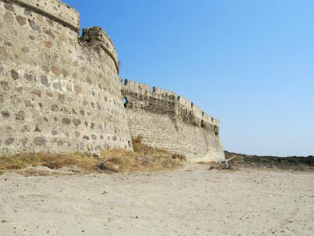 The wall of the Byzantine Antimachia Castle, Kos island, Greece