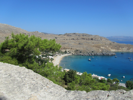 Beach of Lindos in Rhodes island, Greece