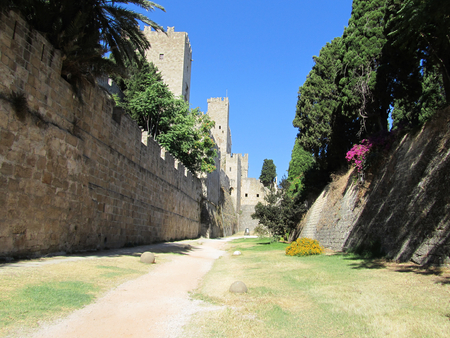 Medieval walls of Rhodes town in Dodecanese archipelago in Greece