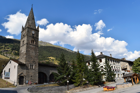 LANSLEBOURG-MONT-CENIS, FRANCE, CIRCA AUGUST 2016: the ancient church of Lanslebourg-Mont-Cenis. This place is very touristic in particularly during winter time.
