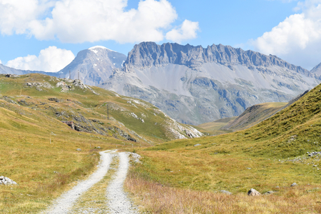 A road to the top of mountain at 2000 metres of elevation, Vanoise National Park, France
