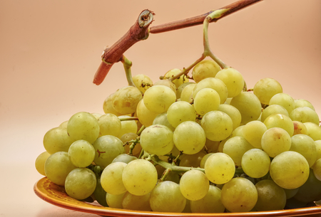 A big bunch of white green grapes with light orange background. HDR effect.