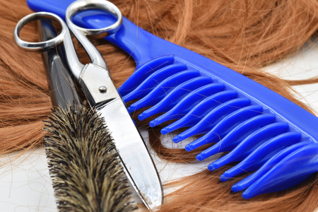 Concept for hairdresser: scissors, blue comb, brush and a lock of copper hair.