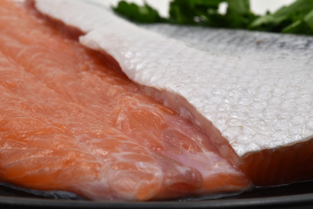 A raw fillet of salmon with its pink meat, silver skin and scales and some green parsley