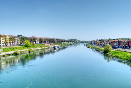 River Ticino in Pavia, Italy, in a sunny limpid day with light blue sky and water. HDR effect. Stock Photo