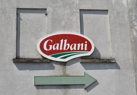 PAVIA, ITALY, CIRCA APRIL 2018: Galbani symbol on a wall near the industrial center.
