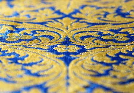 A blue and gold silk texture with arabesque, suitable to be use like a background 写真素材 - 111370182