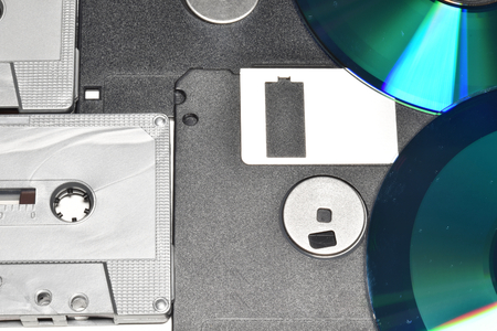 Tape, floppy, cd. Suitable to be used like a background.