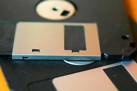 Macro of floppy disk. Tilt-shift effect applied. Macro. Stock Photo