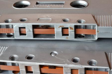 Two grey tapes. Macro. Stock Photo
