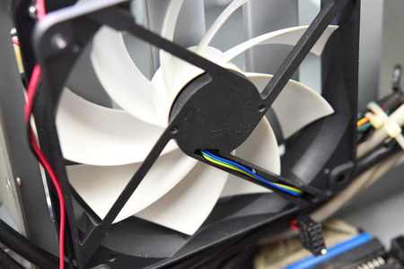 A white fan inside the personal computer Stock Photo